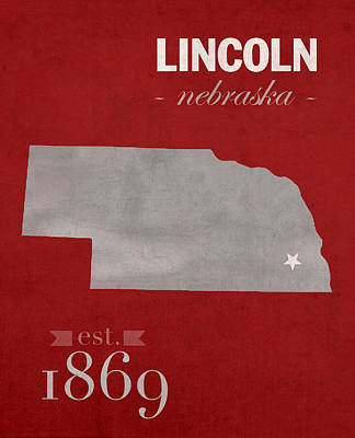 Lincoln Mixed Media - University Of Nebraska Lincoln Cornhuskers College Town State Map Poster Series No 071 by Design Turnpike