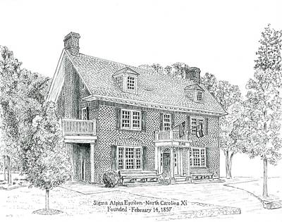 Greek Drawing - University Of North Carolina Sae Xi by John Hopson