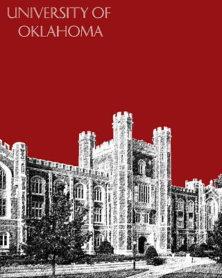 Pen Digital Art - University Of Oklahoma - Dark Red by DB Artist
