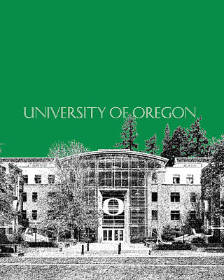 Pen Digital Art - University Of Oregon - Forest Green by DB Artist