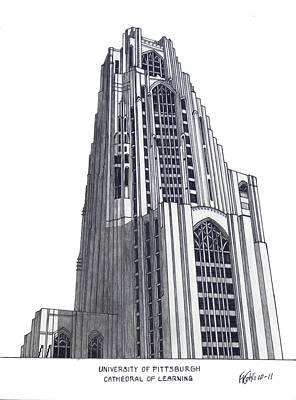 Drawing - University Of Pittsburgh by Frederic Kohli