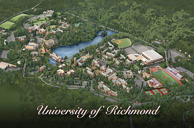 Campus Maps Drawing - University Of Richmond by Rhett and Sherry  Erb