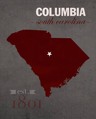 Columbia Mixed Media - University Of South Carolina Gamecocks Columbia College Town State Map Poster Series No 096 by Design Turnpike