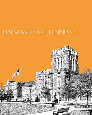 Knoxville Digital Art - University Of Tennessee - Orange by DB Artist