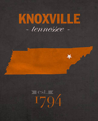 Stanford Mixed Media - University Of Tennessee Volunteers Knoxville College Town State Map Poster Series No 104 by Design Turnpike