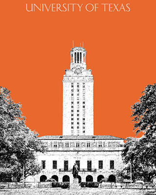 College Campus Digital Art - University Of Texas - Coral by DB Artist