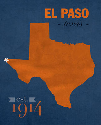 El Paso Mixed Media - University Of Texas At El Paso Utep Miners College Town State Map Poster Series No 110 by Design Turnpike