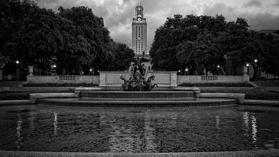 Longhorn Photograph - University Of Texas Icons Bw by Joan Carroll