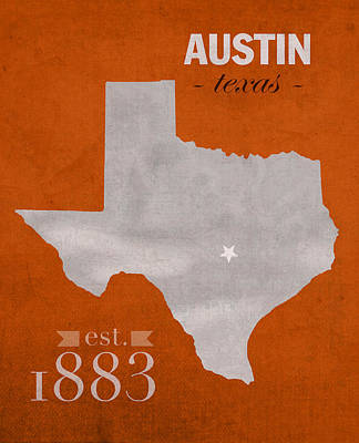 Longhorn Mixed Media - University Of Texas Longhorns Austin College Town State Map Poster Series No 105 by Design Turnpike