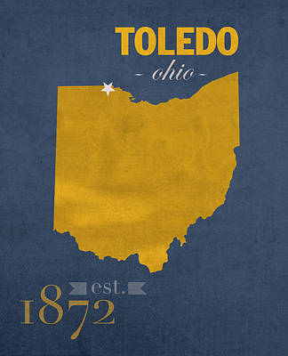 Harvard Mixed Media - University Of Toledo Ohio Rockets College Town State Map Poster Series No 112 by Design Turnpike