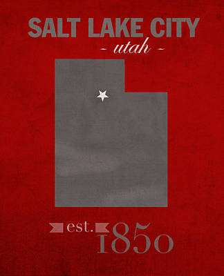 University Of Utah Utes Salt Lake City College Town State Map Poster Series No 116 Art Print by Design Turnpike