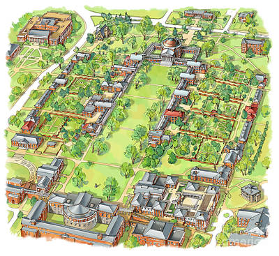 Uva Painting - University Of Virginia Academical Village  by Maria Rabinky