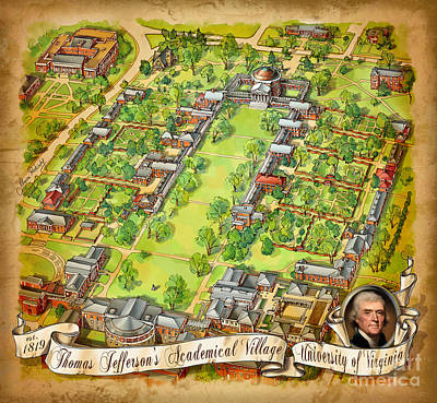 University Of Virginia Academical Village  With Scroll Art Print by Maria Rabinky