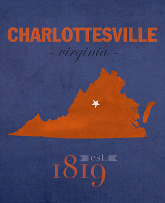 University Of Virginia Cavaliers Charlotteville College Town State Map Poster Series No 119 Art Print
