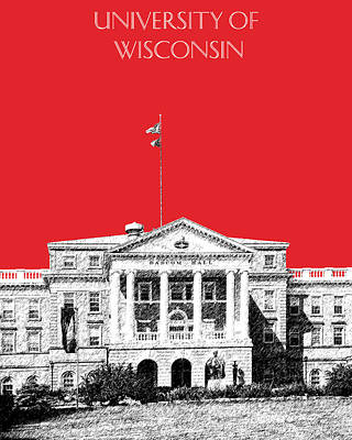 Dorm Room Decor Digital Art - University Of Wisconsin - Red by DB Artist