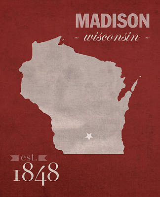 University Of Wisconsin Badgers Madison Wi College Town State Map Poster Series No 127 Art Print