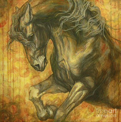Black Friesian Painting - Unleashed by Silvana Gabudean Dobre
