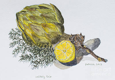 Artichoke Mixed Media - Unlikely Trio by Patricia Gould