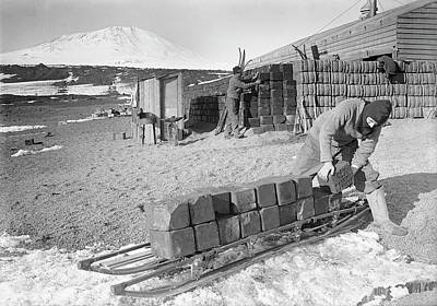 Erebus Photograph - Unloading Antarctic Fuel Supplies by Scott Polar Research Institute