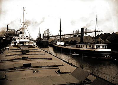 Chauncey Drawing - Unloading At Ore Docks, Cleveland, Ohio, John Craig by Litz Collection