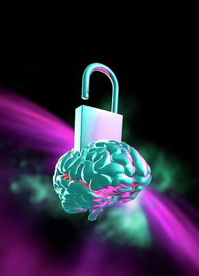 Unlocking The Human Brain Art Print by Victor Habbick Visions