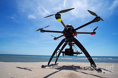 Unmanned Aerial Vehicle On Beach Art Print by Sami Sarkis