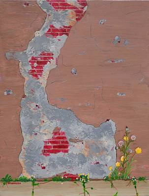Painting - Unmasking The Red Brick Wall by Donna  Manaraze