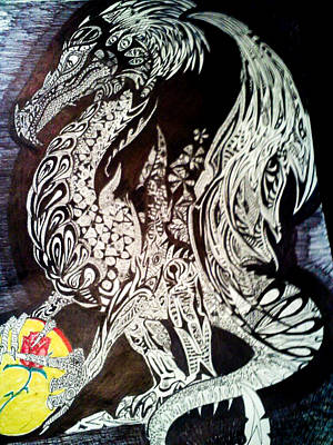 Drawing - Unnamed Dragon by Nathan Newman