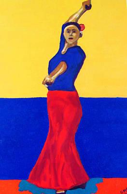 Dancer Painting - Unnamed Flamenco Dancer by Greg Mason Burns
