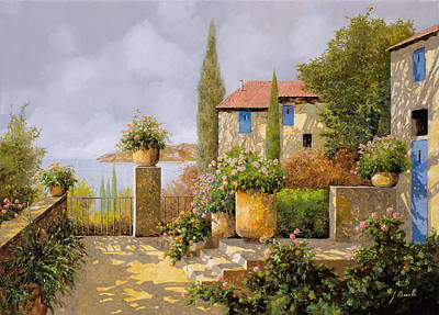 Cypress Painting - Uno Sguardo Sul Mare by Guido Borelli