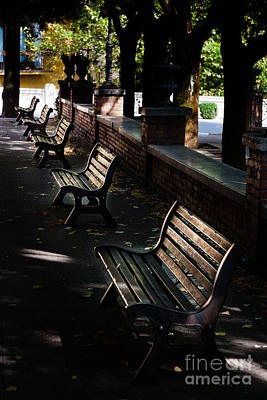 unoccupied park benches in the shade of trees in Palestrina Art Print