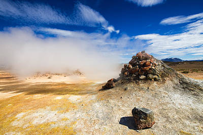Unreal Landscape In Iceland - Geothermal Area Hverir Art Print by Matthias Hauser