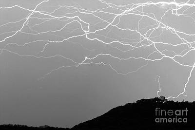 Medina Lake Photograph - Unreal Lightning In Black And White by Michael Tidwell