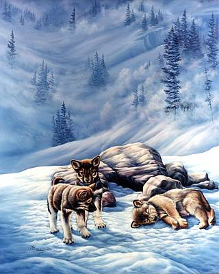 Wolf Pack Painting - Unseen Eyes by Lori Salisbury