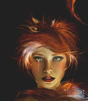 Digital Art - Untamed The Redhead And The Fox by Jaimy Mokos