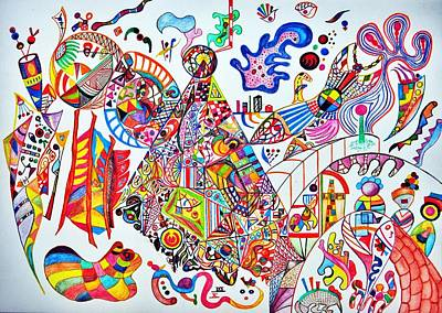 Abstract Forms Drawing - Welcome To The Carnival 1 by Bhvinder