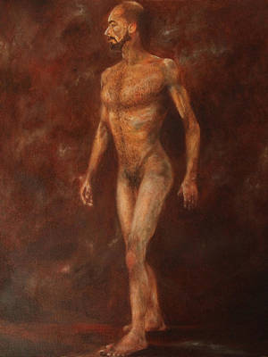 Painting - The Nude Walking by Pralhad Gurung