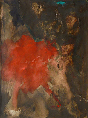 Painting - Untitled Abstract - Umber With Scarlet by Kathleen Grace