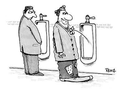 Urinal Drawing - New Yorker June 19th, 2000 by Doug Reina