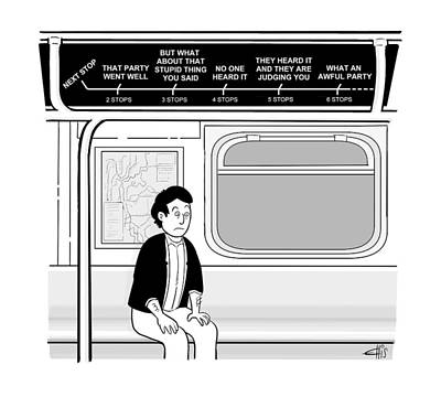 Anxiety Drawing - New Yorker December 12th, 2016 by Ellis Rosen