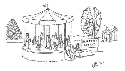 Merry-go-round Drawing - New Yorker February 19th, 2007 by Eric Lewis