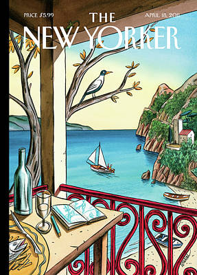 Wine Painting - New Yorker April 18th, 2011 by Jacques de Loustal