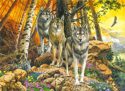 Wildlife Landscape Painting - Wolf Mother And Cubs by John Francis
