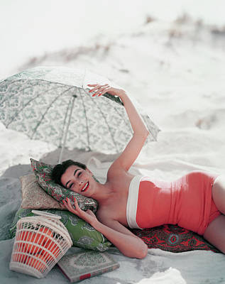 Bathing Suit Photograph - Vogue July 1st, 1954 by Karen Radkai