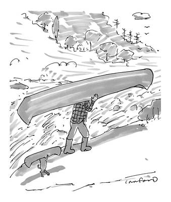 Canoes Drawing - New Yorker October 17th, 2016 by Michael Crawford