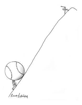 Baseball Drawing - Captionless by Mort Gerberg