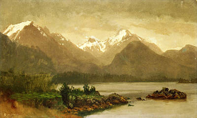 Andscape Painting - Untitled Mountains And Lake by Albert Bierstadt