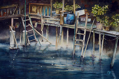 Stilt House Painting - The Moonlight by Perry Chow