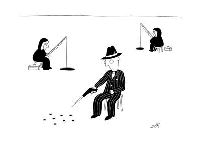 Ice Fishing Drawing - New Yorker November 7th, 2016 by Seth Fleishman