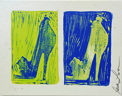 Linoprint Painting - Untitled Shoe Print In Green And Blue by Lauren Luna